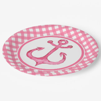 Nautical Pink Anchor Plaid Paper Plates