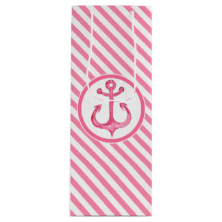Nautical Pink Anchor Striped Gift Bag