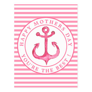 Nautical Pink Anchor Striped Mother's Day Postcard