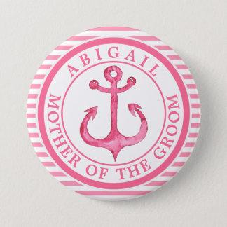 Nautical Pink Anchor Striped Wedding Party Button