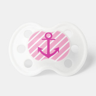 Nautical  Pink And White Stripes Fuchsia Anchor Pacifier