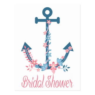 Nautical Pink & Blue Bridal Shower Anchor Floral Postcard