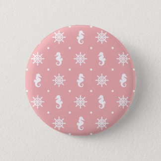 Nautical pink coral pattern 2 inch round button