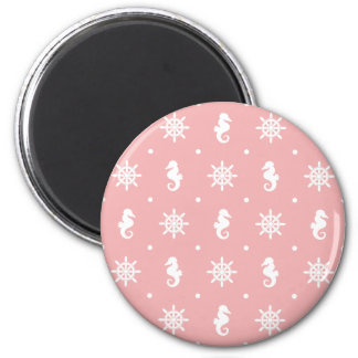 Nautical pink coral pattern 2 inch round magnet