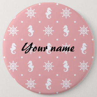 Nautical pink coral pattern 6 inch round button