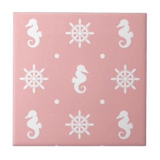 Nautical pink coral pattern ceramic tiles