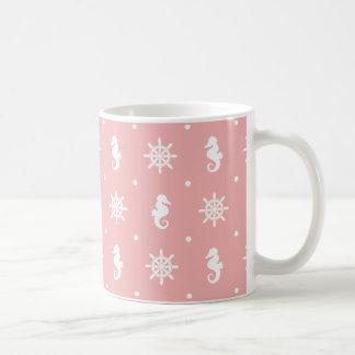 Nautical pink coral pattern coffee mug