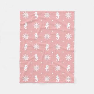 Nautical pink coral pattern fleece blanket