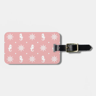 Nautical pink coral pattern luggage tag