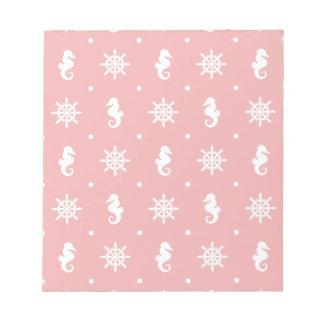Nautical pink coral pattern notepad