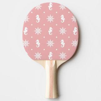 Nautical pink coral pattern ping pong paddle
