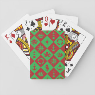 Nautical pink coral pattern playing cards