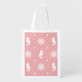 Nautical pink coral pattern reusable grocery bag
