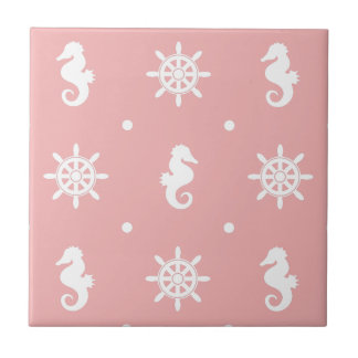 Nautical pink coral pattern tile