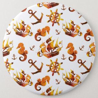Nautical pink orange pattern 6 inch round button