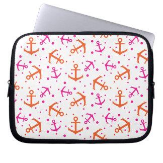 Nautical pink orange pattern laptop sleeve