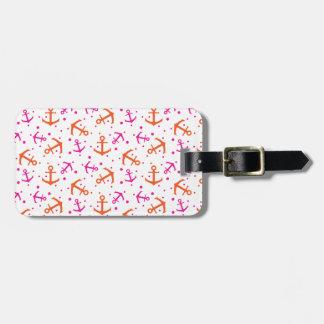 Nautical pink orange pattern luggage tag