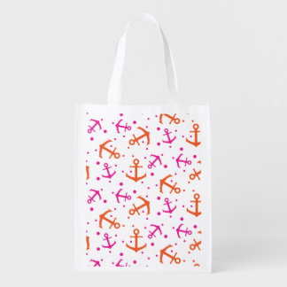 Nautical pink orange pattern reusable grocery bag