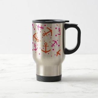 Nautical pink orange pattern travel mug