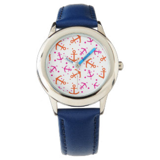 Nautical pink orange pattern wrist watches