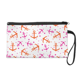 Nautical pink orange pattern wristlet