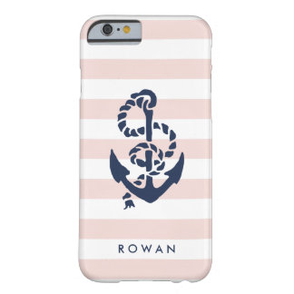 Nautical Pink Stripe & Navy Anchor Personalized Barely There iPhone 6 Case
