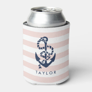 Nautical Pink Stripe & Navy Anchor Personalized Can Cooler