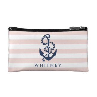 Nautical Pink Stripe & Navy Anchor Personalized Makeup Bag