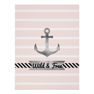 Nautical Pink Stripes Watercolor Anchor Custom Poster
