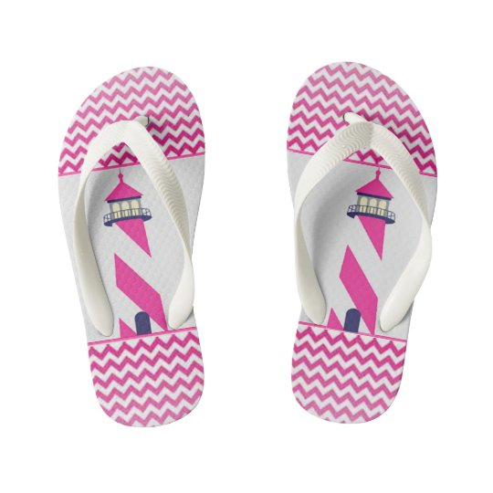 NAUTICAL PINK & WHITE CHEVRON with PINK LIGHTHOUSE Kid's Flip Flops