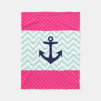 Nautical Pink White Mint Chevron Anchor Pattern Fleece Blanket