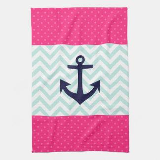 Nautical Pink White Mint Chevron Anchor Pattern Kitchen Towel