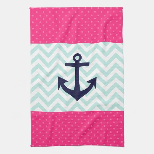 Nautical Pink White Mint Chevron Anchor Pattern Towels