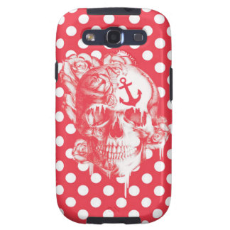 Nautical Pop art polka dot skull Galaxy SIII Cover