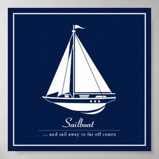 Nautical Poster with Sailboat - Customize Text