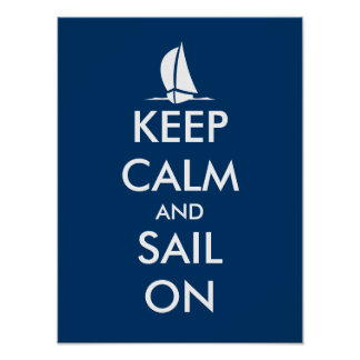 Nautical poster with ship | Keep calm and sail on