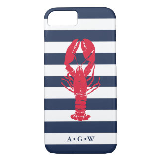 Nautical Preppy Navy Stripe & Lobster | Monogram iPhone 8/7 Case