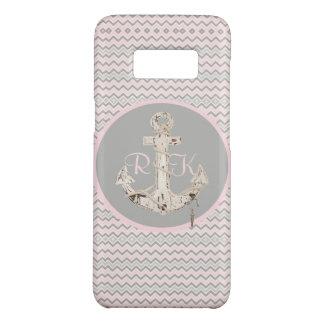 nautical preppy pink chevron girly anchor Case-Mate samsung galaxy s8 case