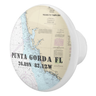 Nautical Punta Gorda FL Latitude Longitude Chart Ceramic Knob