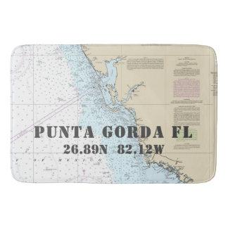Nautical Punta Gorda FL Longitude Latitude Chart Bath Mat