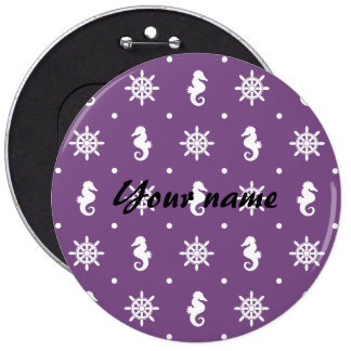Nautical purple pattern 6 inch round button