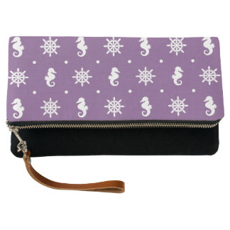 Nautical purple pattern clutch