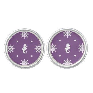 Nautical purple pattern cuff links