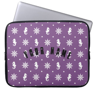 Nautical purple pattern laptop sleeve