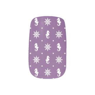 Nautical purple pattern minx nail art