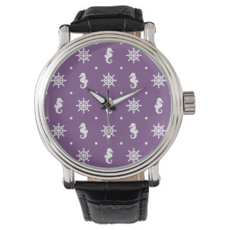 Nautical purple pattern wrist watch