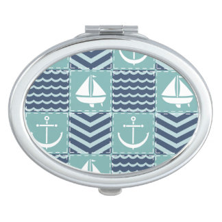 Nautical Quilt Compact Mirror