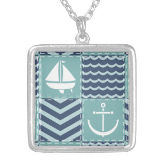 Nautical Quilt Necklace