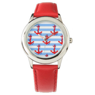 NAUTICAL RED ANCHOR with LIGHT BLUE STRIPE Watches