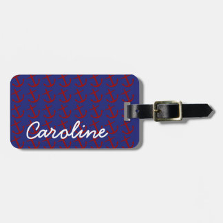 Nautical Red Anchors on Blue Personalized Luggage Tag